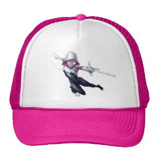 Spider-Gwen Web Slinging Through City Trucker Hat