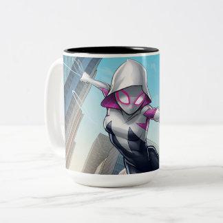 Spider-Gwen Web Slinging Through City Two-Tone Coffee Mug
