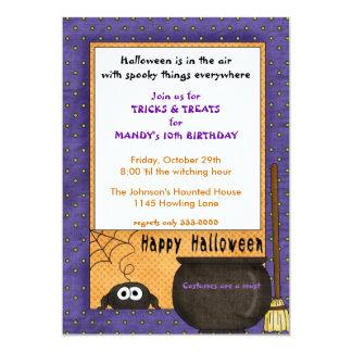 Spider Halloween Birthday Invitation