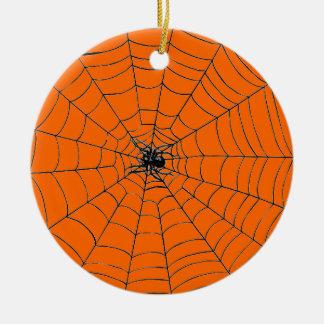 Spider in Web Ceramic Ornament