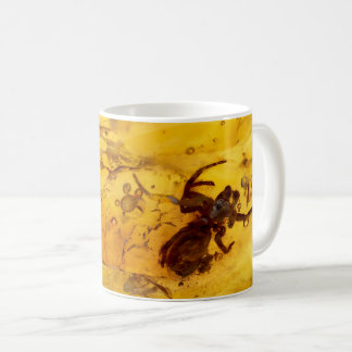 Spider inside baltic amber stone coffee mug