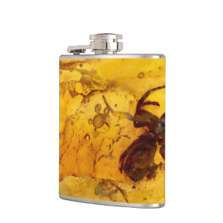 Spider inside baltic amber stone hip flask
