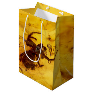Spider inside baltic amber stone medium gift bag