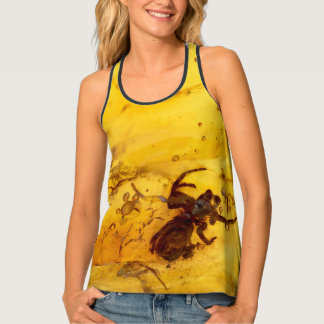 Spider inside baltic amber stone tank top