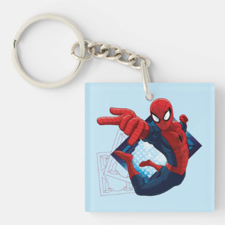 Spider-Man Action Character Badge Double-Sided Square Acrylic Keychain