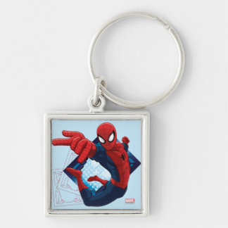Spider-Man Action Character Badge Silver-Colored Square Keychain