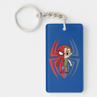 Spider-Man and Peter Parker Dual Identity Double-Sided Rectangular Acrylic Keychain