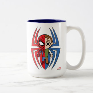 Spider-Man and Peter Parker Dual Identity Two-Tone Coffee Mug