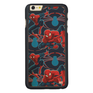 Spider-Man and Spider Logo Pattern Carved® Maple iPhone 6 Plus Case