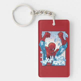 Spider-Man Breaking Glass Double-Sided Rectangular Acrylic Keychain