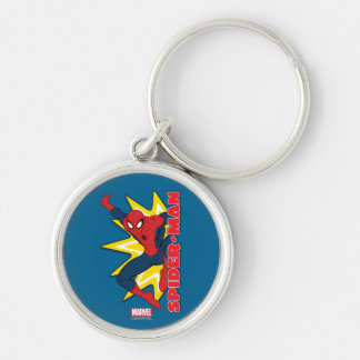 Spider-Man Callout Graphic Silver-Colored Round Keychain