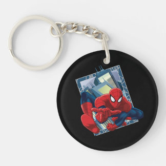 Spider-Man City Character Graphic Double-Sided Round Acrylic Keychain