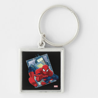 Spider-Man City Character Graphic Silver-Colored Square Keychain