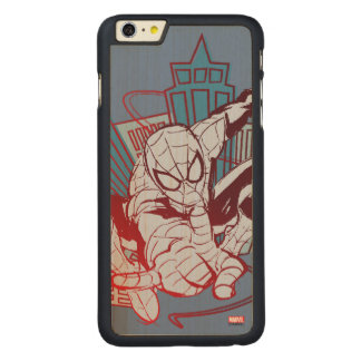 Spider-Man & City Sketch Carved® Maple iPhone 6 Plus Case
