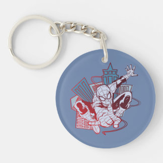 Spider-Man & City Sketch Double-Sided Round Acrylic Keychain