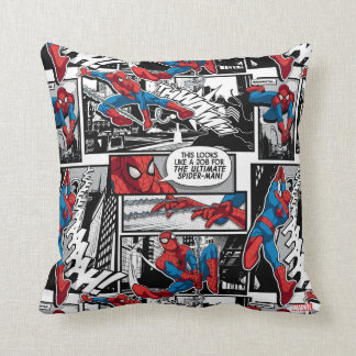 Spider-Man Comic Panel Pattern Throw Pillow