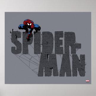 Spider-Man était perché placé sur le nom de brique Poster