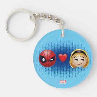 Spider-Man & Gwen Heart Emoji Double-Sided Round Acrylic Keychain