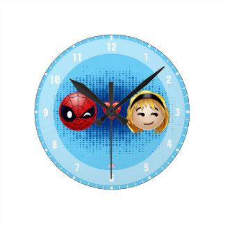 Spider-Man & Gwen Heart Emoji Round Clock