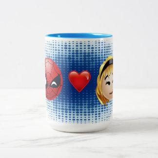 Spider-Man & Gwen Heart Emoji Two-Tone Coffee Mug