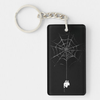 Spider-Man Hanging From Web Silhouette Double-Sided Rectangular Acrylic Keychain