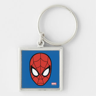 Spider-Man Head Icon Silver-Colored Square Keychain