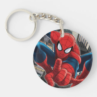 Spider-Man High Above the City Double-Sided Round Acrylic Keychain
