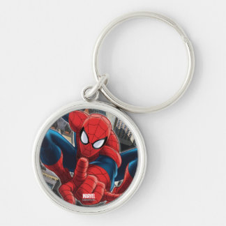 Spider-Man High Above the City Silver-Colored Round Keychain