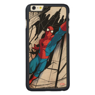 Spider-Man In Abstract City Carved® Maple iPhone 6 Plus Case