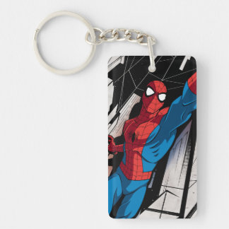 Spider-Man In Abstract City Double-Sided Rectangular Acrylic Keychain