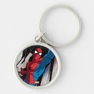 Spider-Man In Abstract City Silver-Colored Round Keychain