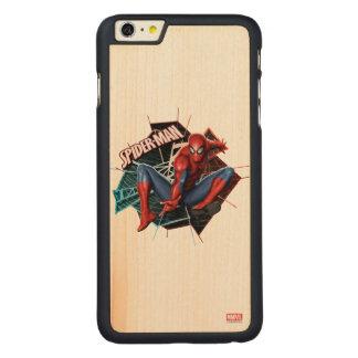 Spider-Man in Fractured Web Graphic Carved® Maple iPhone 6 Plus Case