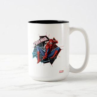 Spider-Man in Fractured Web Graphic Two-Tone Coffee Mug
