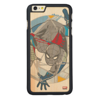 Spider-Man In Kaleidoscope Web Carved Maple iPhone 6 Plus Case
