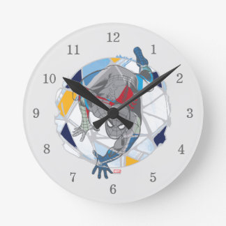 Spider-Man In Kaleidoscope Web Round Clock