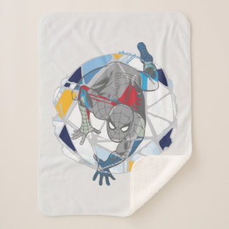 Spider-Man In Kaleidoscope Web Sherpa Blanket
