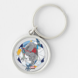 Spider-Man In Kaleidoscope Web Silver-Colored Round Keychain