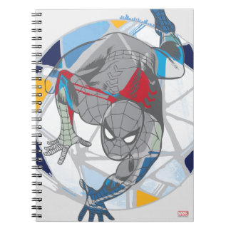 Spider-Man In Kaleidoscope Web Spiral Notebook