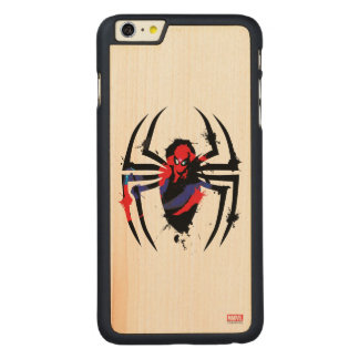 Spider-Man in Spider Shaped Ink Splatter Carved® Maple iPhone 6 Plus Case
