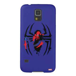 Spider-Man in Spider Shaped Ink Splatter Galaxy S5 Cases