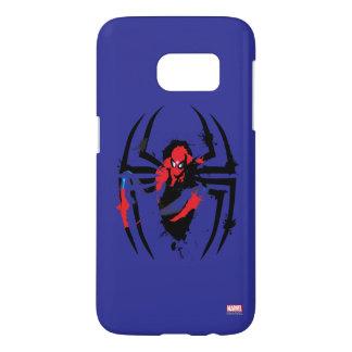 Spider-Man in Spider Shaped Ink Splatter Samsung Galaxy S7 Case