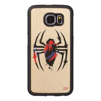 Spider-Man in Spider Shaped Ink Splatter Wood Phone Case