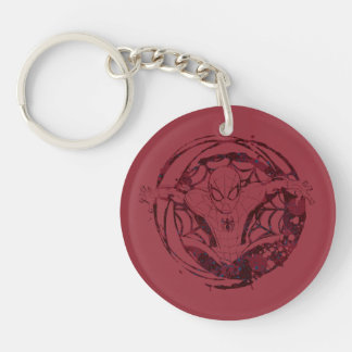 Spider-Man In Web Graphic Double-Sided Round Acrylic Keychain