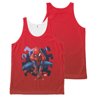 Spider-Man Leaping Out Of Spider Graphic All-Over-Print Tank Top