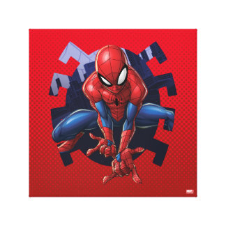 Spider-Man Leaping Out Of Spider Graphic Canvas Print