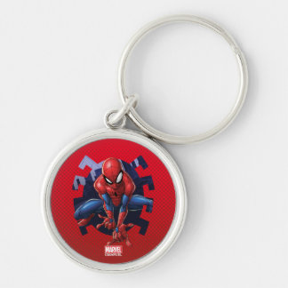 Spider-Man Leaping Out Of Spider Graphic Keychain