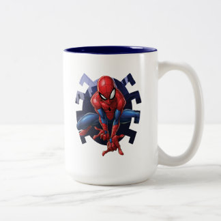 Spider-Man Leaping Out Of Spider Graphic Two-Tone Coffee Mug