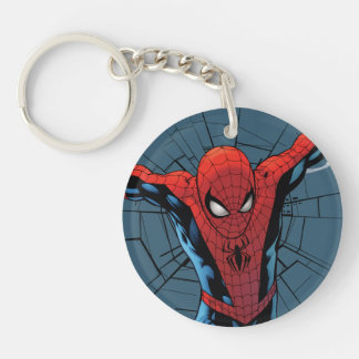 Spider-Man Leaping With Webbing Double-Sided Round Acrylic Keychain