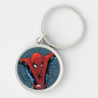 Spider-Man Leaping With Webbing Silver-Colored Round Keychain