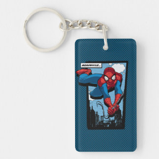 Spider-Man Meanwhile Comic Panel Double-Sided Rectangular Acrylic Keychain